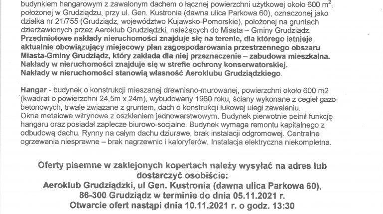 Ogłoszenie Aeroklubu Grudziądzkiego